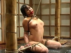 Maya suffers strict bondage and the human fishtank