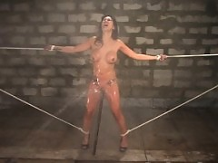 Busty asian gets tied, sprayed and fucked