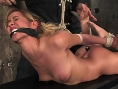Isis love, forced to squirt, bound, gagged. Tight crotch ropes.