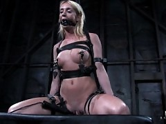 Kelly Wells and Alexa Lynn suffer in severe punishment bondage.