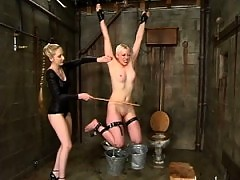Lorelei suffers the cane whilst wet, is head dunked upside down